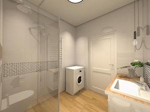 biała łazienka z drewnem - zdjęcie od Projektowanie Wnętrz