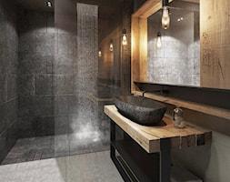 inspiracje - Średnia czarna szara łazienka w bloku w domu jednorodzinnym bez okna - zdjęcie od damian-juzyk - Homebook
