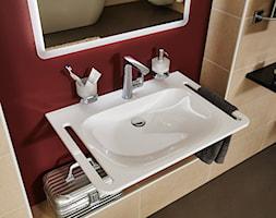 Nowoczesna łazienka - Mała beżowa czerwona łazienka w bloku w domu jednorodzinnym bez okna, styl nowoczesny - zdjęcie od Vigour Polska