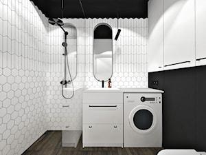 Mieszkanie dla pary. - Średnia biała czarna łazienka bez okna, styl nowoczesny - zdjęcie od SKOG Łucja Zielińska Projektowanie Wnętrz