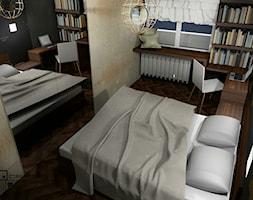 Projekt wnętrza mieszkania w poznańskim bloku - Mała żółta sypialnia małżeńska, styl kolonialny - zdjęcie od Darien Design