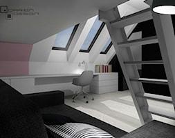 Projekt wnętrza domu jednorodzinnego z poddaszem użytkowym - Duży biały różowy czarny pokój dziecka dla dziewczynki dla ucznia dla nastolatka, styl minimalistyczny - zdjęcie od Darien Design