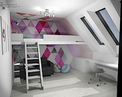 Projekt wnętrza domu jednorodzinnego z poddaszem użytkowym - Średni szary kolorowy pokój dziecka dla dziewczynki dla ucznia dla nastolatka, styl minimalistyczny - zdjęcie od Darien Design