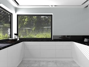Dom dla dwojga - Śmiechowice - Średnia otwarta szara czarna kuchnia w kształcie litery u z oknem, styl glamour - zdjęcie od MG Design
