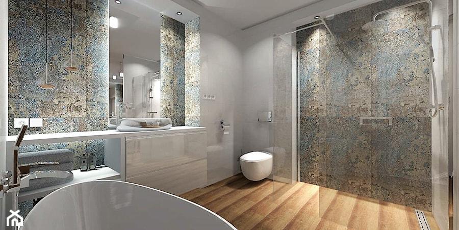 Łazienka 9m2 z użyciem płytki Carpet Vestige - Średnia szara łazienka w bloku w domu jednorodzinnym bez okna - zdjęcie od MG Design
