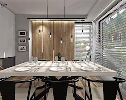 Dom w Lędzinach - Duża otwarta biała szara jadalnia w salonie, styl nowoczesny - zdjęcie od MG Design
