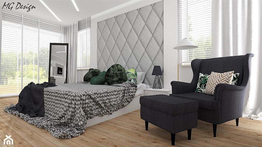 Dom w Walidrogach - Średnia biała sypialnia małżeńska, styl skandynawski - zdjęcie od MG Design