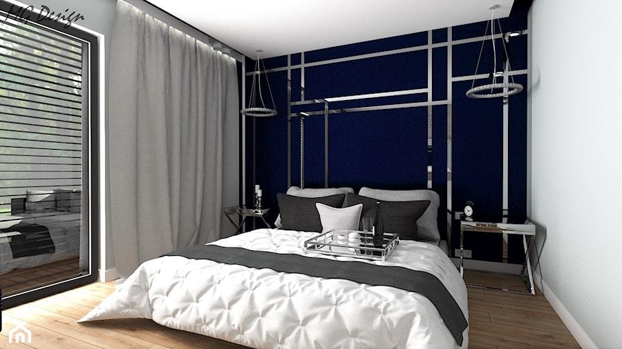 Dom dla dwojga - Śmiechowice - Średnia szara sypialnia małżeńska z balkonem / tarasem, styl glamour - zdjęcie od MG Design