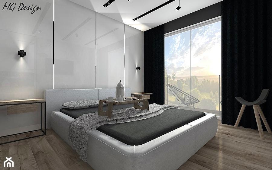 Dom w Lędzinach - Mała szara czarna sypialnia małżeńska, styl nowoczesny - zdjęcie od MG Design