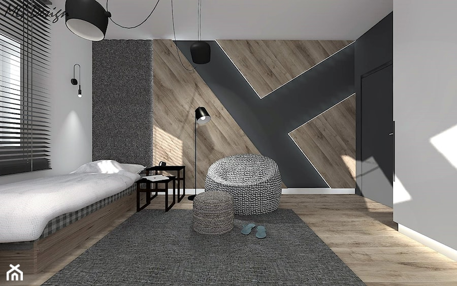 Dom w Lędzinach - Średni szary czarny pokój dziecka dla chłopca dla dziewczynki dla nastolatka, styl nowoczesny - zdjęcie od MG Design