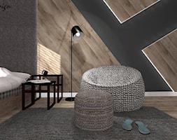 Dom w Lędzinach - Mały biały szary pokój dziecka dla chłopca dla nastolatka, styl nowoczesny - zdjęcie od MG Design