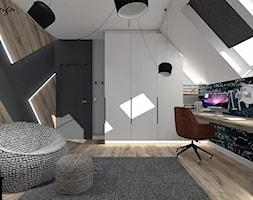 Dom w Lędzinach - Średni biały szary czarny pokój dziecka dla chłopca dla dziewczynki dla ucznia dla nastolatka, styl nowoczesny - zdjęcie od MG Design