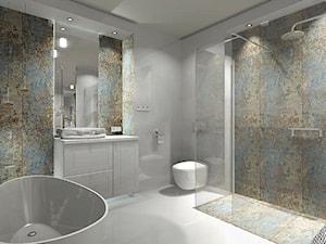 Łazienka 9m2 z użyciem płytki Carpet Vestige - Duża łazienka w bloku w domu jednorodzinnym bez okna - zdjęcie od MG Design