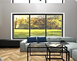 Salon z wielkim oknem i antresolą - zdjęcie od MG Design - Homebook