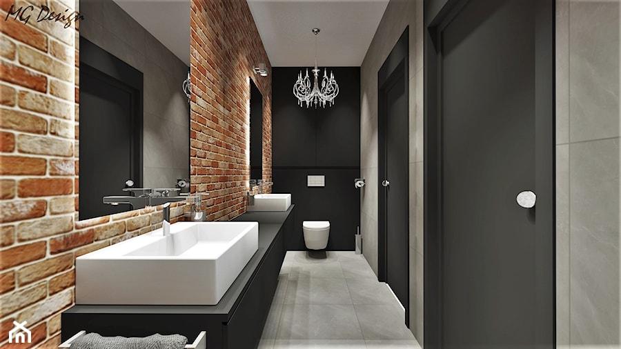 Toaleta Ze ścianą Ceglaną I Lustrzaną Zdjęcie Od Mg Design