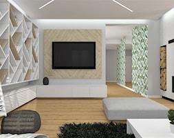 Dom w Walidrogach - Duży szary salon z bibiloteczką, styl skandynawski - zdjęcie od MG Design