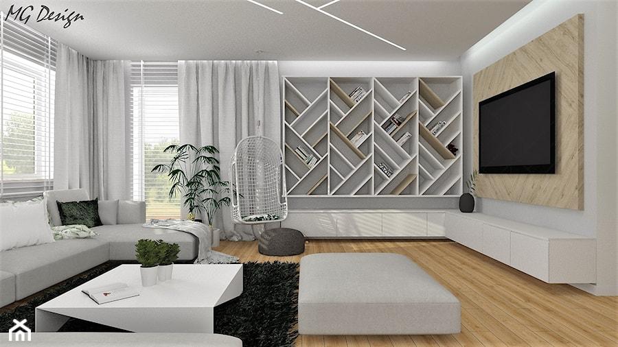 Dom w Walidrogach - Duży szary salon z bibiloteczką z tarasem / balkonem, styl skandynawski - zdjęcie od MG Design