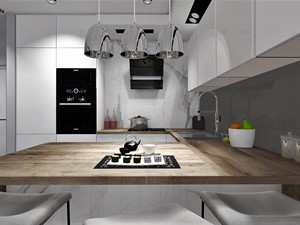 Kuchnia otwarta z białymi meblami i drewnianym blatem - zdjęcie od MG Design