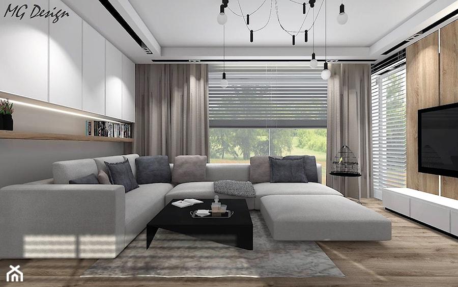Dom w Lędzinach - Mały szary salon, styl nowoczesny - zdjęcie od MG Design