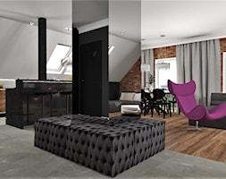 Mieszkanie na poddaszu w Opolskim - Duża otwarta szara kuchnia dwurzędowa w aneksie z oknem, styl glamour - zdjęcie od MG Design