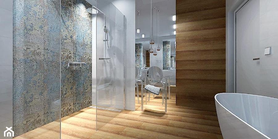 łazienka 9m2 Z Użyciem Płytki Carpet Vestige Duża Biała
