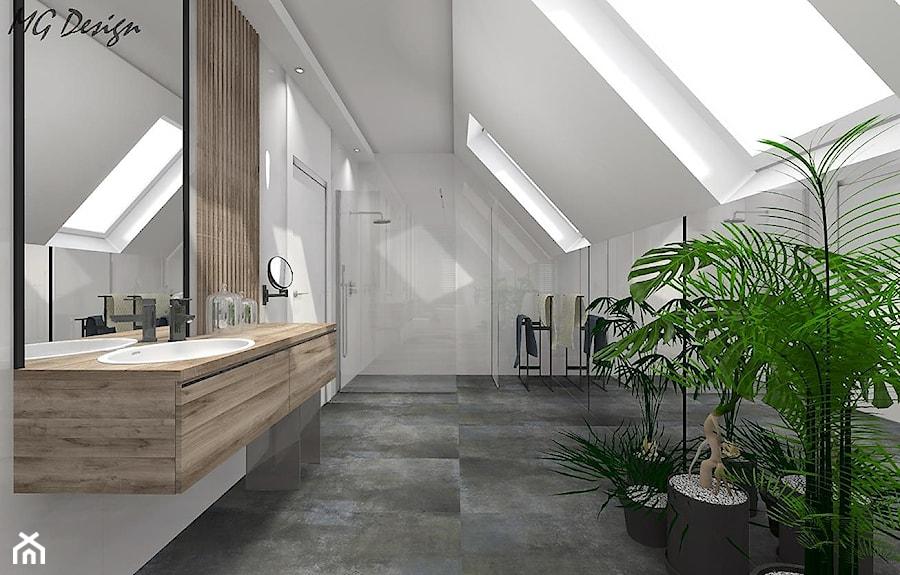 Dom w Lędzinach - Duża szara łazienka na poddaszu w domu jednorodzinnym z oknem, styl nowoczesny - zdjęcie od MG Design