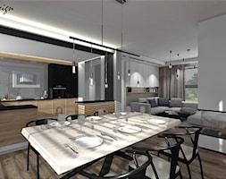 Dom w Lędzinach - Średnia otwarta biała szara jadalnia w kuchni w salonie, styl nowoczesny - zdjęcie od MG Design