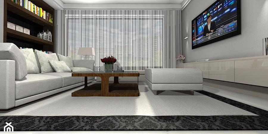 Salon z biblioteką i ścianą TV - zdjęcie od Design Decor - homebook