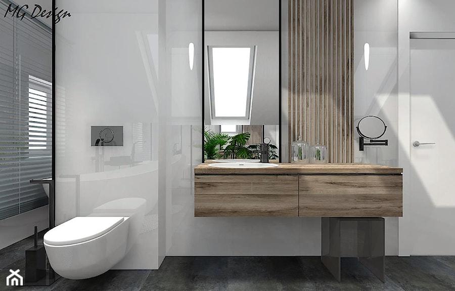 Dom w Lędzinach - Średnia biała łazienka na poddaszu w domu jednorodzinnym z oknem, styl nowoczesny - zdjęcie od MG Design