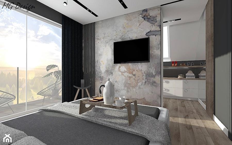 Aranżacje wnętrz - Sypialnia: Dom w Lędzinach - Średnia szara czarna sypialnia małżeńska, styl nowoczesny - MG Design. Przeglądaj, dodawaj i zapisuj najlepsze zdjęcia, pomysły i inspiracje designerskie. W bazie mamy już prawie milion fotografii!