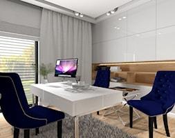 Dom dla dwojga - Śmiechowice - Średnie szare białe biuro domowe w pokoju, styl glamour - zdjęcie od MG Design