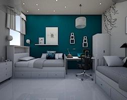 children room - Średni biały zielony pokój dziecka dla chłopca dla dziewczynki dla ucznia dla nastolatka, styl art deco - zdjęcie od augustyndesign