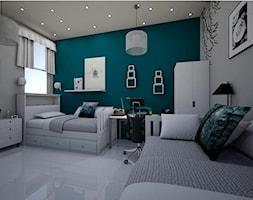 children room - Średni szary niebieski pokój dziecka dla chłopca dla dziewczynki dla rodzeństwa dla ucznia dla nastolatka, styl art deco - zdjęcie od augustyndesign