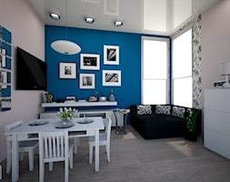 living room - Mały beżowy niebieski salon z jadalnią, styl tradycyjny - zdjęcie od augustyndesign