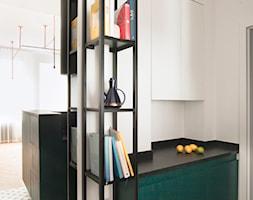 Kawalerka w zabytkowej kamienicy - Mała otwarta biała kuchnia jednorzędowa, styl eklektyczny - zdjęcie od DEMBOWSKA / JAGIEŁŁO studio architektury - Homebook