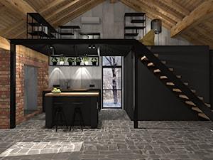 KUCHNIA Z ANTRESOLĄ - Średnia otwarta szara czarna kuchnia jednorzędowa w aneksie z wyspą z oknem, styl industrialny - zdjęcie od NOKODESIGN