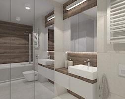 MIESZAKNIE W ŁODZI - Mała szara łazienka w bloku w domu jednorodzinnym bez okna, styl nowoczesny - zdjęcie od NOKODESIGN