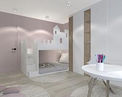MIESZAKNIE W ŁODZI - Średni szary różowy pokój dziecka dla chłopca dla dziewczynki dla rodzeństwa dla malucha dla nastolatka, styl nowoczesny - zdjęcie od NOKODESIGN