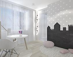 MIESZAKNIE W ŁODZI - Mały biały szary pokój dziecka dla dziewczynki dla ucznia dla malucha, styl nowoczesny - zdjęcie od NOKODESIGN
