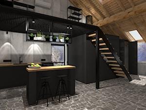 KUCHNIA Z ANTRESOLĄ - Średnia szara czarna kuchnia dwurzędowa w aneksie z wyspą z oknem, styl industrialny - zdjęcie od NOKODESIGN