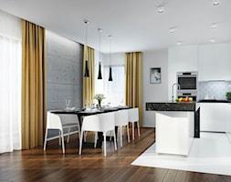 Passa - Mała otwarta szara czarna kuchnia w kształcie litery u z oknem, styl minimalistyczny - zdjęcie od promotyw