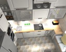 Kuchnia - Mała zamknięta biała kuchnia w kształcie litery u z oknem, styl klasyczny - zdjęcie od Projekty Wnętrz DOYS