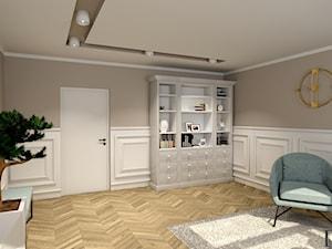 Pokój biurowy - Średnie beżowe białe biuro kącik do pracy w pokoju, styl nowojorski - zdjęcie od Projekty Wnętrz DOYS