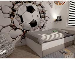 Pokój chłopca - Mały biały pokój dziecka dla chłopca dla ucznia dla nastolatka, styl nowoczesny - zdjęcie od Projekty Wnętrz DOYS