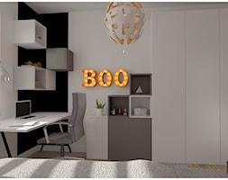 Pokój chłopca - Mały biały czarny pokój dziecka dla chłopca dla ucznia dla nastolatka, styl nowoczesny - zdjęcie od Projekty Wnętrz DOYS