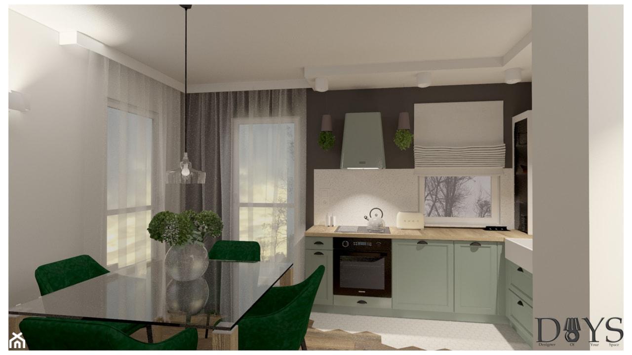 Mieszkanie 78m2 - Mała otwarta szara czarna kuchnia w kształcie litery l z oknem, styl klasyczny - zdjęcie od Projekty Wnętrz DOYS - Homebook