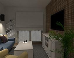Mieszkanie 45,28m2 - Mały szary brązowy salon, styl klasyczny - zdjęcie od Projekty Wnętrz DOYS