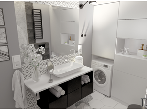 Łazienka około 6m2 w stylu nowoczesnym w połaczeniu z heksagonem w postaci płyte