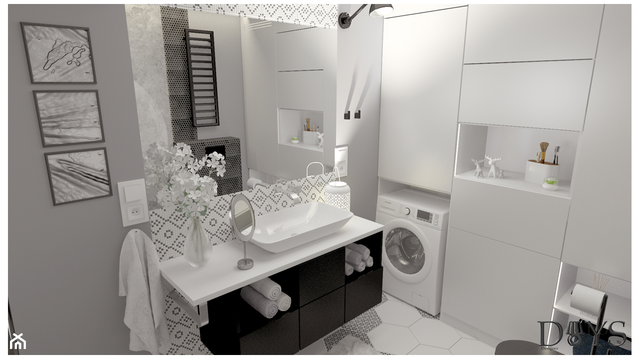 Nowoczesna łazienka z tapetą - zdjęcie od Projekty Wnętrz DOYS - Homebook