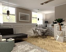 Pokój biurowy - Średnie beżowe białe biuro domowe kącik do pracy w pokoju, styl nowojorski - zdjęcie od Projekty Wnętrz DOYS